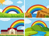 Four scenes with rainbow in the sky - 175227634