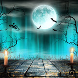 Spooky Halloween background with candles. - 175228060