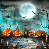 Halloween pumpkins on wooden planks. - 175228632