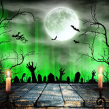 Spooky Halloween background with zombie hands. - 175229036