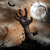 Scary Halloween background with zombie hands. - 175229458