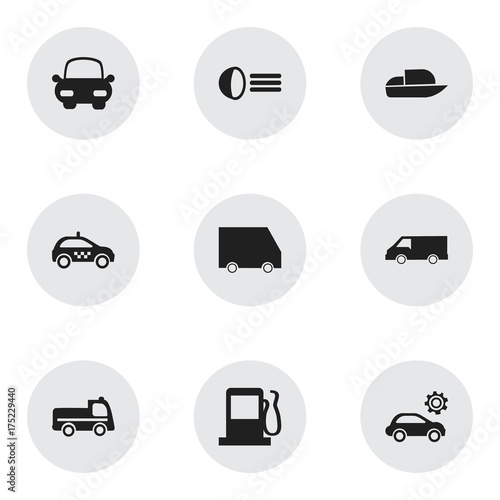 Set Of 9 Editable Transportation Icons. Includes Symbols Such As Luminary, Fuel, Food Transport And More. Can Be Used For Web, Mobile, UI And Infographic Design.