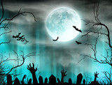 Spooky Halloween background with zombie hands. - 175229807