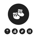 Set Of 5 Editable Kid Icons. Includes Symbols Such As Alphabet Cubes, Footmark, Rattle And More. Can Be Used For Web, Mobile, UI And Infographic Design. - 175229817