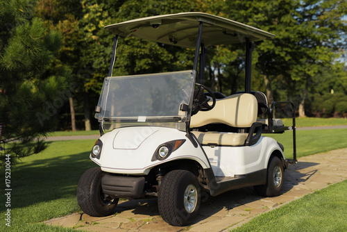 White golf cart on the stone path in the golf club - 175230044