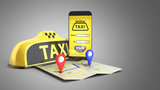 Fototapety Ordering a taxi cab online internet service transportation concept navigation pin pointer with checker pattern and yellow taxi and phone 3d render on grey