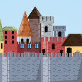 Castle and wall of palace medieval and fairytale theme Vector illustration - 175230868