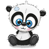 Cute Cartoon Panda on a white background