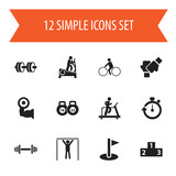 Set Of 12 Editable Exercise Icons. Includes Symbols Such As Flag, Stopwatch, Street Workout And More. Can Be Used For Web, Mobile, UI And Infographic Design. - 175231610