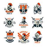 Middle ages logo design set, vintage medieval emblem since 1975 vector Illustrations - 175234866
