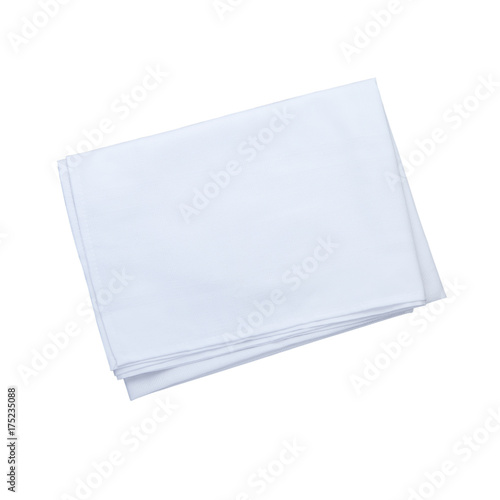 White Napkin isolated. Napkin close up top view mock up