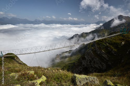 Beautiful landscape with suspension bridge in mountain.