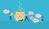 E-commerce. Flat design business people concept. Vector illustration for web banner, business presentation, advertising material. - 175241211