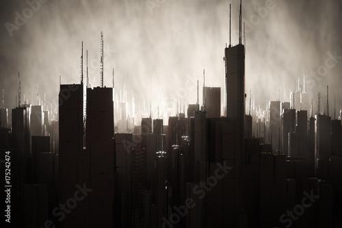 Dark city with smoky atmosphere