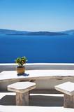 Santorini Island, Greece. Traditional white Greek architecture over Caldera, a beautiful landscape overlooking the Aegean Sea. - 175244230