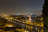 verona by night. verona di notte. vrona vista dall' alto
