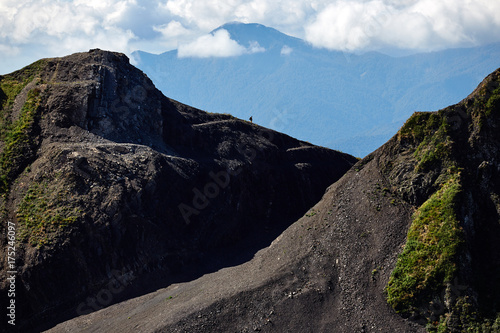 Aluminium Zwart Beautiful mountain landscape with bright blue sky. North Caucasus.