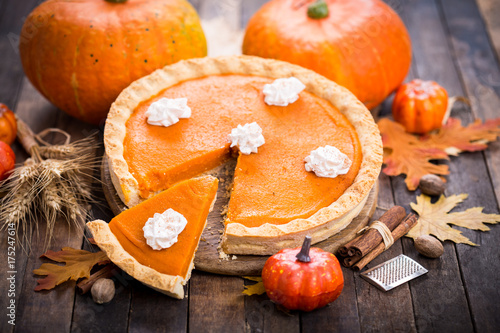 Pumpkin pie with whipped cream  - 175247614