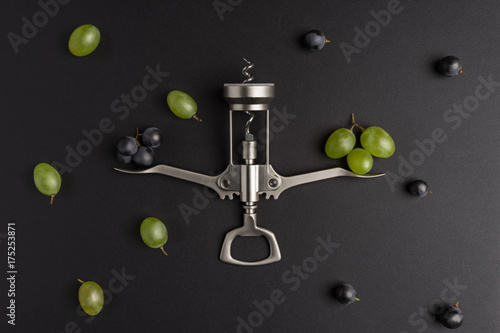 Fototapeta Wine choice. Composition with grape and corkscrew