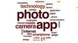 Photo app animated word cloud, text design animation. - 175258478