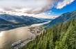 Juneau, Alaska: Landscape of mountains and Juneau city
