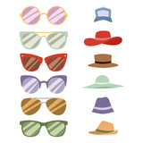 Beach accessories summer hats collection vector fashion beach travel beautiful head protection cap.