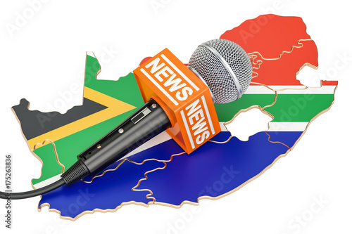 South Africa News concept, microphone news on the map. 3D rendering