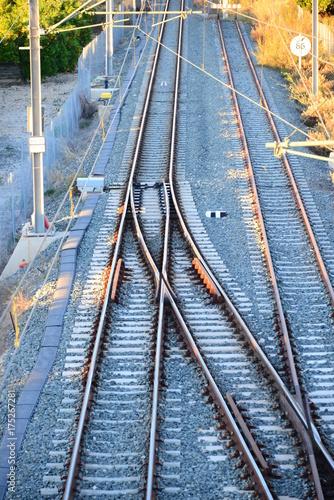 In de dag Spoorlijn Eisenbahngleise, Spanien