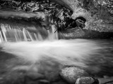 Water Cascading over Rocks, Black-and-White