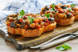 Grilled corn bread with roasted vegetables. - 175269203