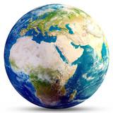 Planet Earth globe 3d rendering