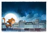 gato por la ciudad de noche