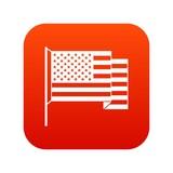 American flag icon digital red - 175275212