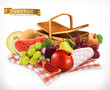 Harvest fruits and berries. Pomegranate, apple, pear, grapes, watermelon, melon. Realistic 3d vector icon