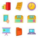 Large data center icons set, cartoon style - 175277400