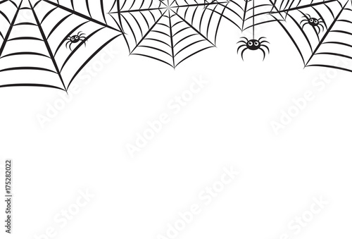 Fototapeta Halloween Spider Web Horizontal Vector Background 1