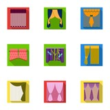 Curtains, lambrequins, cornice, and other web icon in flat style.Hand, textiles, furniture icons in set collection. - 175287479
