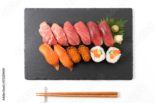 Foto op Canvas Sushi bar salmon sushi set on plate