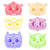 Owls. Heads. Design Zentangle. Hand drawn owl with abstract patterns on isolation background. Design for spiritual relaxation for adults. Outline for tattoo, printing on t-shirts. Doodles for icons - 175290870