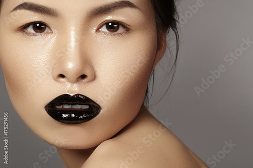 Close-up portrait asian model with fashion lips make-up, clean skin Poster