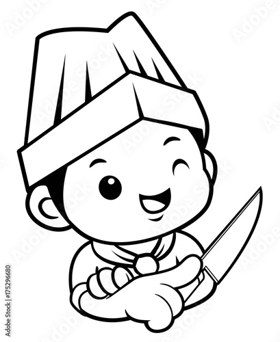Black And White Head Chef Mascot is holding a kitchen knife. Vector illustration isolated on white background.