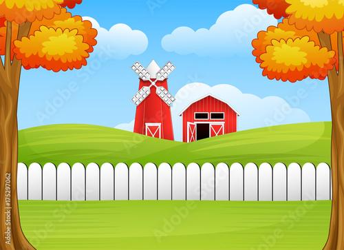 Fotobehang Boerderij Cartoon farm landscape with windmill and barn