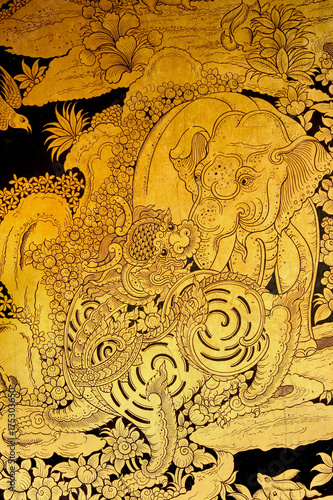 lion and elephant Scene Painted on a Temple Windows Poster