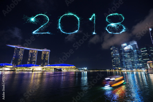 2018 Happy new year firework Sparkle with marina bay at night, urban landscape o Poster