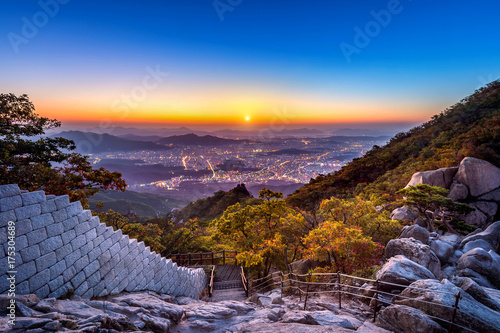 Sunrise at Baegundae peak and Bukhansan mountains in autumn,Seoul in South Korea Poster
