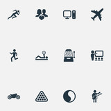 Vector Illustration Set Of Simple Fashion Icons. Elements Motorcycle, Education, Jogging And Other Synonyms Yin-Yang, Aircraft And Athlete. - 175311637