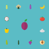 Flat Icons Cluster, Bean, Apricot And Other Vector Elements. Set Of Dessert Flat Icons Symbols Also Includes Tomato, Banana, Jungle Objects. - 175311671