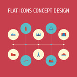Flat Icons Drought, Paris, China And Other Vector Elements. Set Of Monument Flat Icons Symbols Also Includes Stonehenge, Tienanmen, Architecture Objects. - 175312064