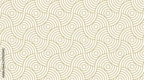 Fototapeta Pattern seamless circle abstract wave background stripe gold luxury color and line. Geometric line vector.