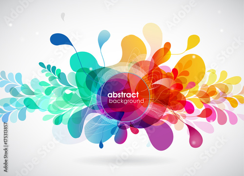 Fridge magnet Abstract colored flower background with circles.